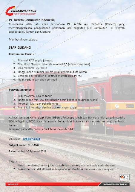 Lowongan Kerja Gudang PT. Kereta Commuter Indonesia