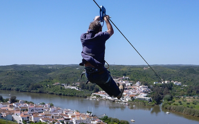 The 2,365 ft zip-line in Spain is the world's first cross-border zip-line connecting Spain and Portugal.