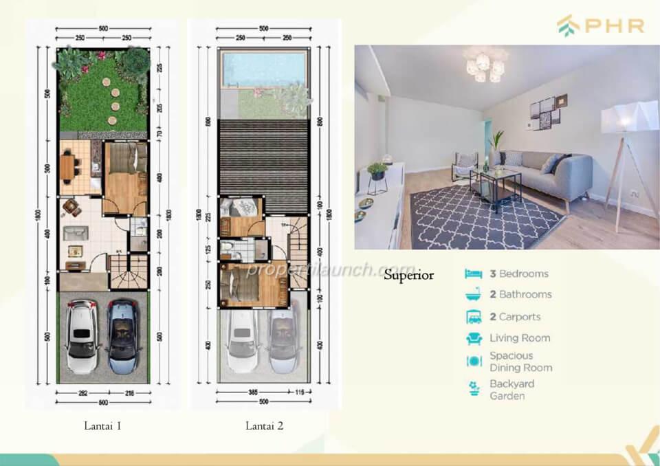 Denah rumah cluster Golden PHR Bekasi tipe Superior