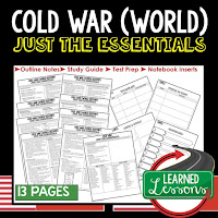 Cold War, World History Outline Notes, World History Test Prep, World History Test Review, World History Study Guide, World History Summer School Outline, World History Unit Overview, World History Interactive Notebook Inserts