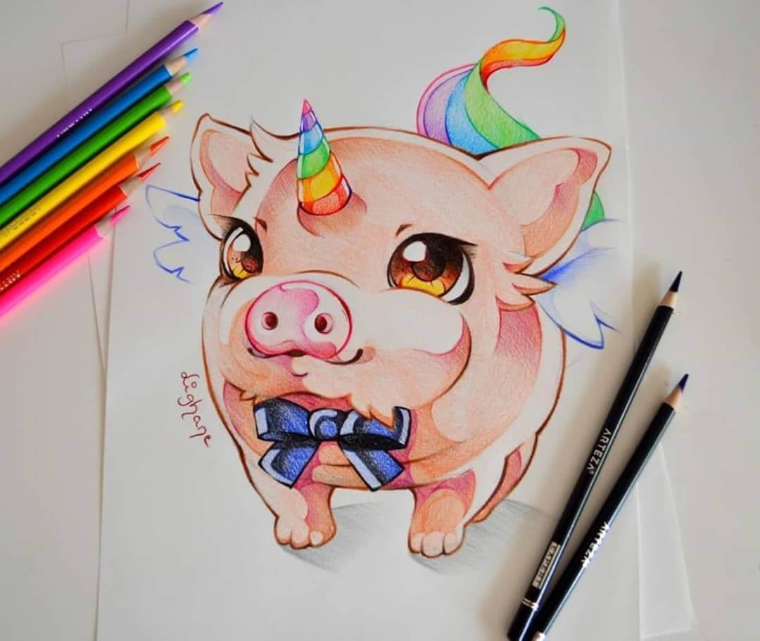 11-Rainbow-Pig-Unicorn-Lisa-Saukel-Great-Detailing-in-Fantasy-Drawings-www-designstack-co