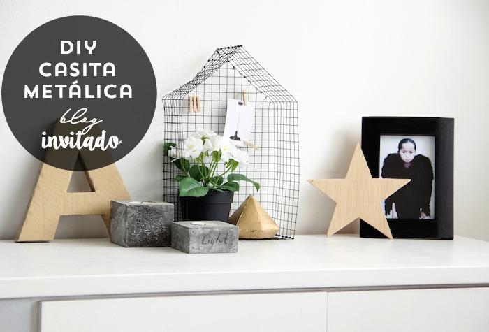 DIY casita metálica. Objeto decorativo de estilo nórdico