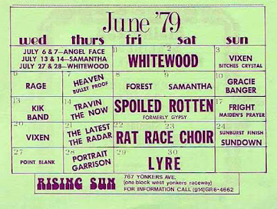 Rising Sun club band lineup for June of 1979