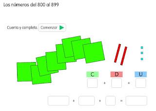 LOS NÚMEROS DEL 800 AL 899. COMPLETA
