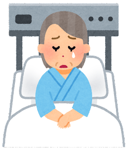 いろいろな表情の入院中の人のイラスト(おばあさん・泣いた顔)