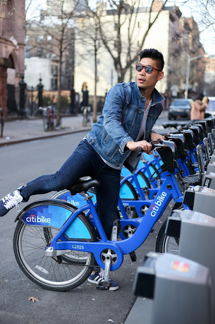 Leo Chan, Menswear Style wearing Hudson Jeans Denim Jacket and Jeans, A21 Necklace