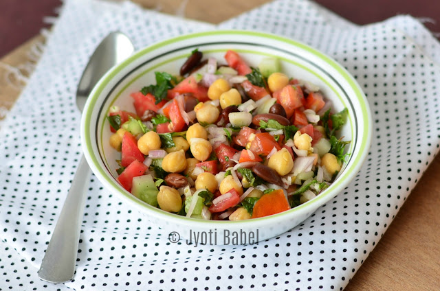 Lebanese Bean Salad | Lebanese Beans Salad is a simple, flavourful salad but is power packed with protein. Check out the recipe at www.jyotibabel.com