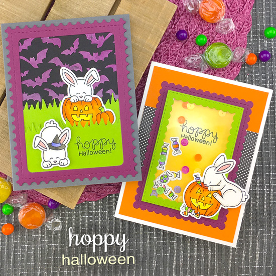 Bunny Halloween Cards by Jennifer Jackson | Hoppy Halloween Stamp Set and Flying Bats Stencil by Newton's Nook Designs #newtonsnook #handmade #halloween