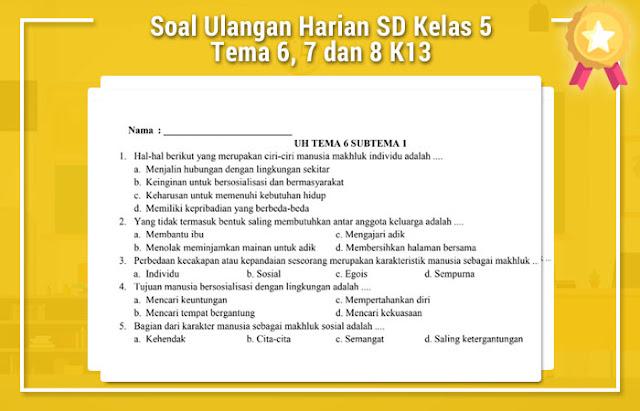 Soal Ulangan Harian SD Kelas 5 Tema 6, 7 dan 8 K13