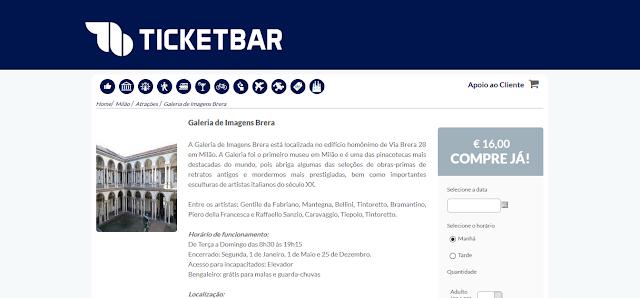 Ticketbar para ingressos para a Galeria de Imagens Brera em Milão