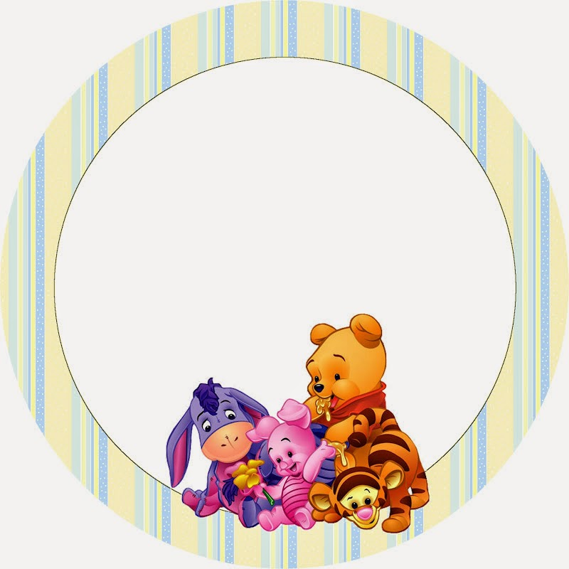 Winnie the Pooh Baby: Free Printable Cupcake Toppers and Wrappers.