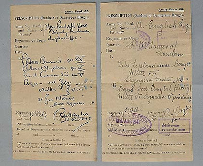Prescriptions for Rudolf Hess (left) and Josef Jakobs (right) (courtesy of Royal Armouries)
