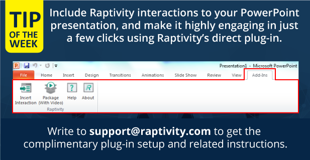 Image explaining how Raptivity interactions can be included in Microsoft PowerPoint using direct plug-in.