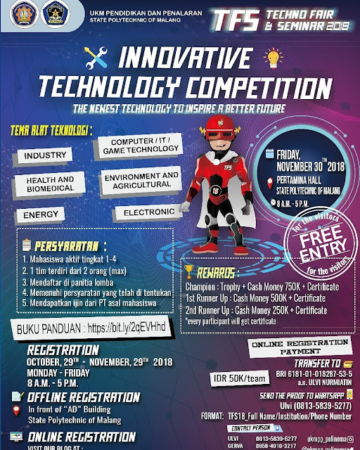 Lomba Innovative Technologi Competition 2018 Mahasiswa