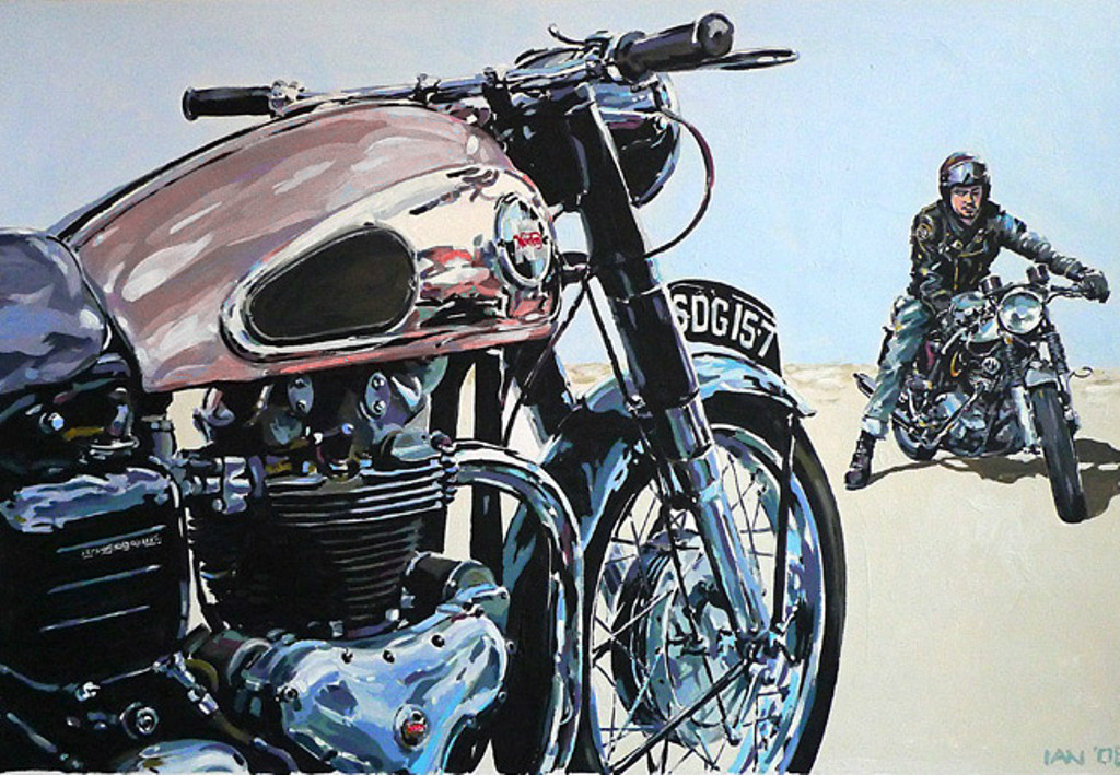 motorcycle biker racer nortons ian cater motorcycles artwork cafe triumph classic blow bikes racing really hair archive foto
