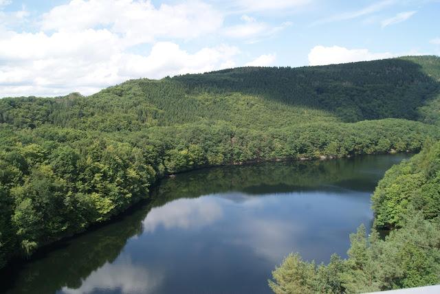 Ein Blick auf den Urftstausee und die Wälder der Eifel