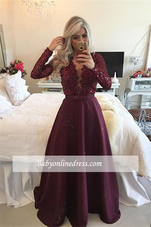 Sexy Burgundy Beadings Prom Dress A-Line Long Sleeves Lace Evening Gowns