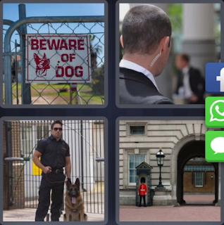4 fotos 1 palabra perro policia beware of dog enigma for Puerta 4 fotos 1 palabra