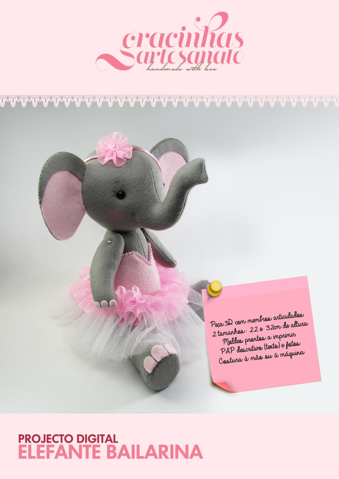 Projeto Digital: Elefante Bailarina | Gracinhas Artesanato