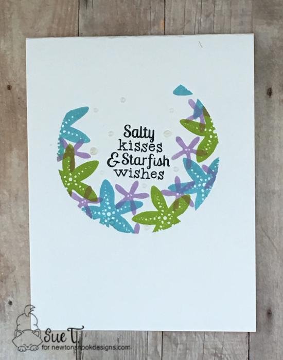 Salty kisses & starfish wishes by Sue features Tranquil Tides by Newton's Nook Designs; #newtonsnook