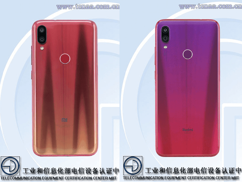 Xiaomi Redmi Note 7 and Redmi Note 7 Pro spotted on TENAA!