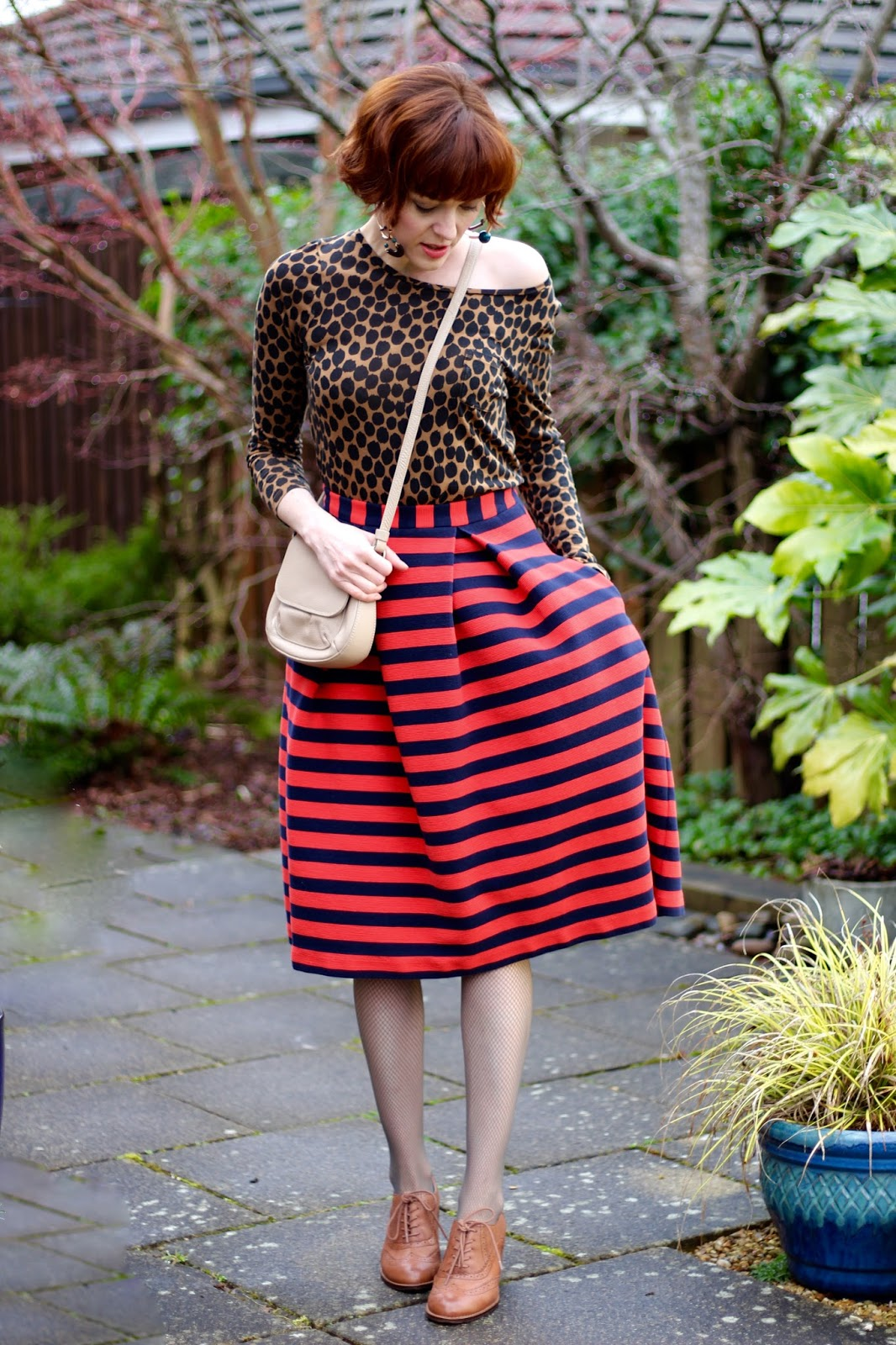 Boden Midi Skirt, Leopard top, Chunky Brogues &Fishnet tights | Fake Fabulous | 4 ways to wear fishnets