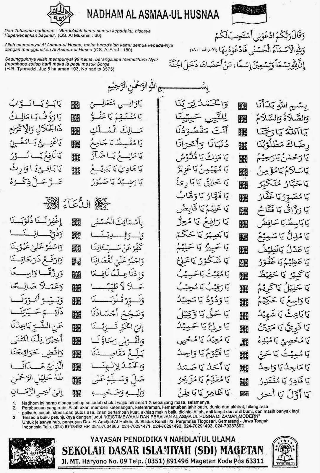 99 Asmaul Husna Arab Latin Dan Arti Dalam Bahasa Indonesia