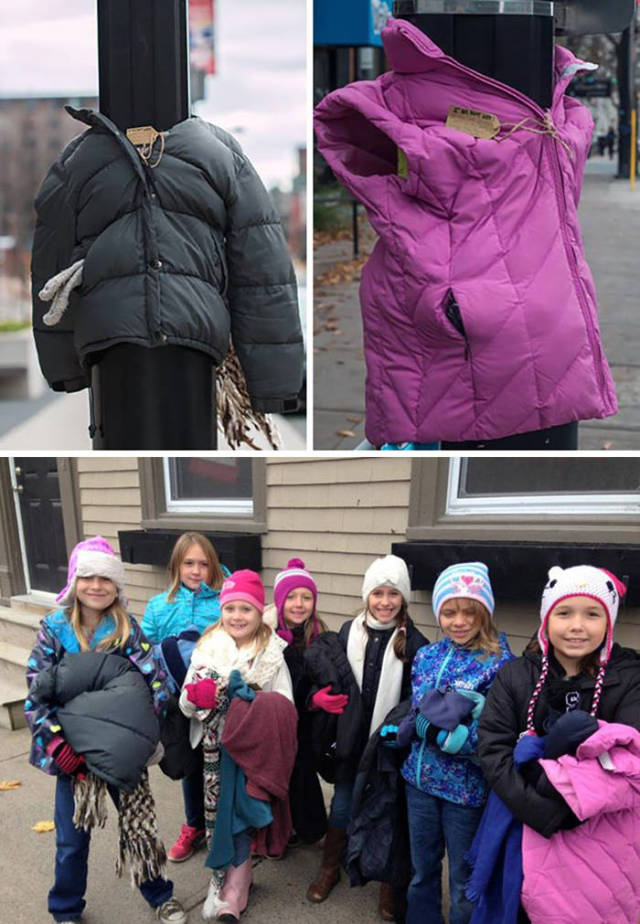 These kids in canada tied coats to street poles to help homeless prepare for winter.