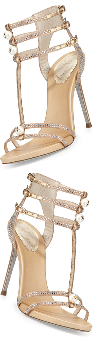 Rene Caovilla Pearly T-Strap Leather Sandal, Beige