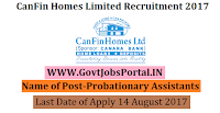 CanFin Homes Limited Recruitment 2017– 30 Probationary Assistants