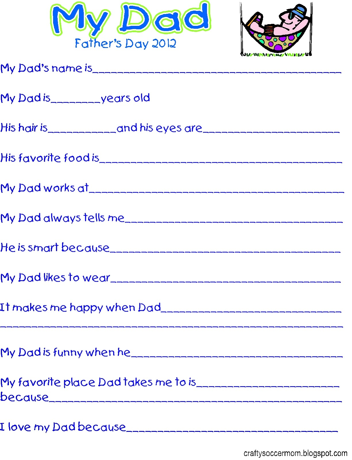 Crafty Soccer Mom Father S Day Survey Printable