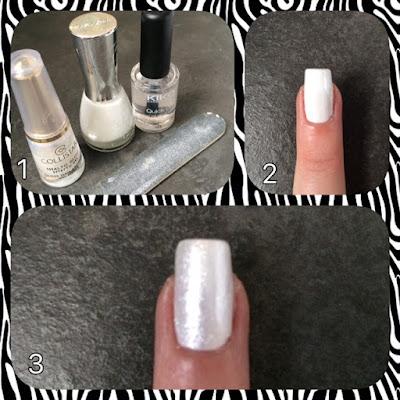 Unghia bianca con glitter. Tutorial su come creare una nail art facile e elegante.