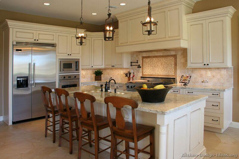 Kitchens With Off White Cabinets And Crown Molding On Stainless Steel Liances Best