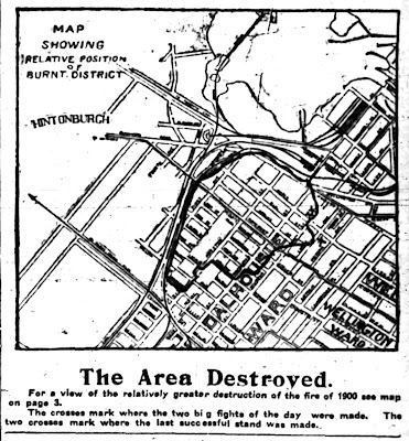 Map and caption from a Journal article on the 1903 fire. Below the map is the title 'The Area Destroyed.' and a subtitle 'For a view of the relatively greater destruction of the fire of 1900 see map on page 3. The crosses mark where two big fights of the day were made. The two crosses mark where the last successful stand was made.' On the map is the title 'Map showing relative position of burnt district'. The map has outlined that part of Dalhousie Ward east and south of the Canada Atlantic Railway tracks extending as far east as Rochester or Division (one of the crosses is where the east boundary pushes out to Lorne Ave (Upper Lorne Pl) between Maple (Primrose) and Somerset. After there the fire boundary is between Rochester and Division down to Poplar, which it skirts back to Rochester, then skirting Willow to Preston where it continues down to Louisa, which is the southernmost extent of the fire between Preston and the tracks.