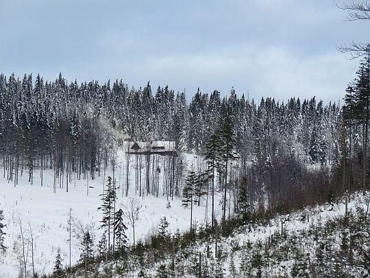 Schronisko na Hali Krupowej widziane z drogi technicznej.