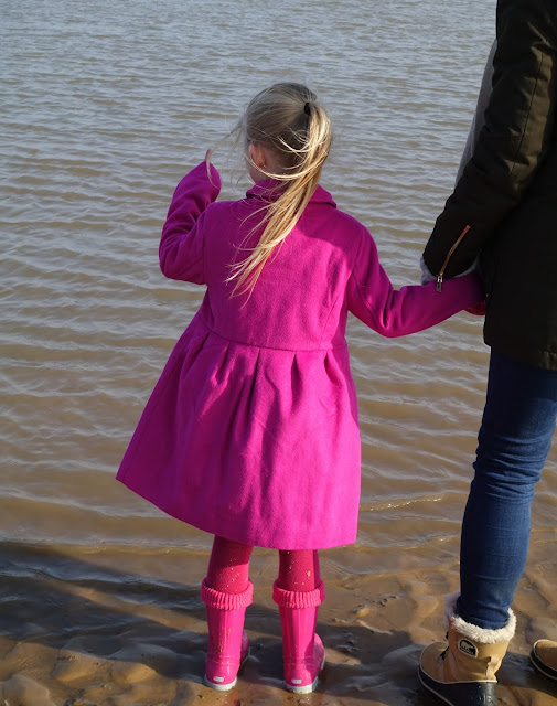A 5 year old girl all dressed in pink standing on wet sand at the edge of the sea and pointing out to sea and holding an adults hand