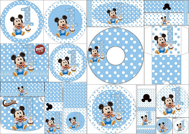 First Year of Mickey with Polka Dots: Free Printable Candy Bar Labels.