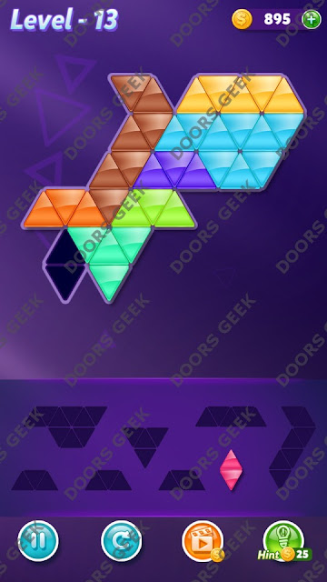Block! Triangle Puzzle Proficient Level 13 Solution, Cheats, Walkthrough for Android, iPhone, iPad and iPod