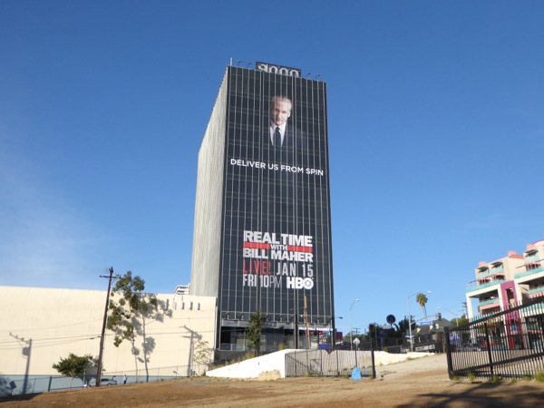 Giant Deliver us from spin Bill Maher billboard Sunset Strip
