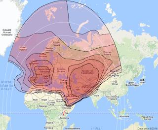Footprint Satelit Eutelsat 36B 36.0°E KUBand