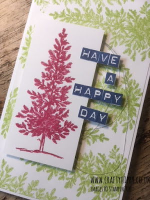 Handmade card saying 'Have a Happy Day' with trees stamped in Lovely Lipstick, Lemon Lime Twist and Blueberry Bushel Classic Stampin' Pad, using the Lovely As A Tree stamp set, all made by Stampin' Up!