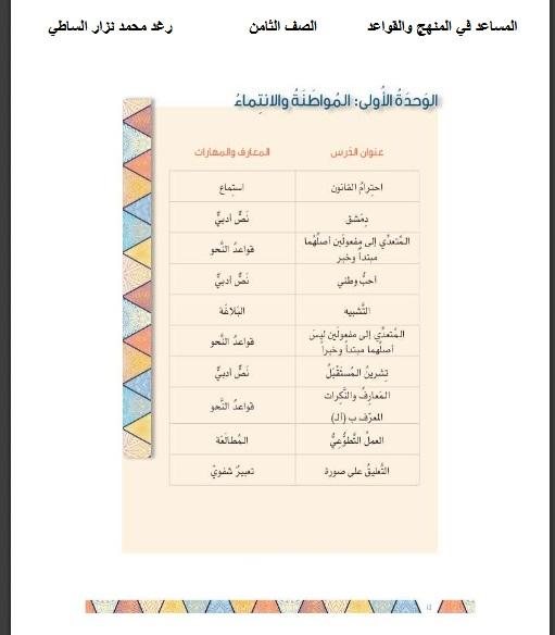 شرح الوحدة الاولي في اللغة العربية للصف الثامن