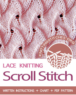 Lace Knitting Stitch. #howtoknit the Scroll Stitch Pattern. #knittingstitches #knitting #laceknitting