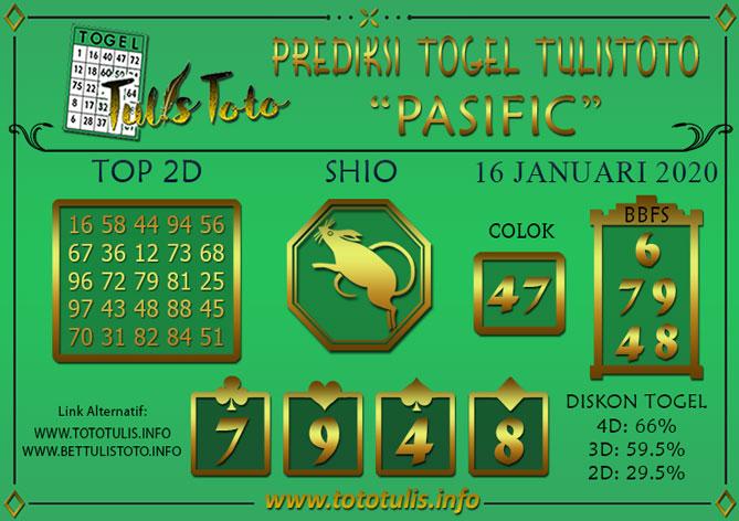 Prediksi Togel PASIFIC TULISTOTO 16 JANUARI 2020