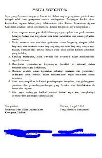 Download Contoh Pakta Integritas Tunjangan Profesi Guru PAI