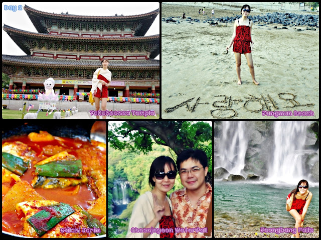 Jeju Seogwipo (Yakcheonsa Temple, Jungmun Beach,   Cheonjeyeon Waterfall and breathtaking Jeongbang Falls).
