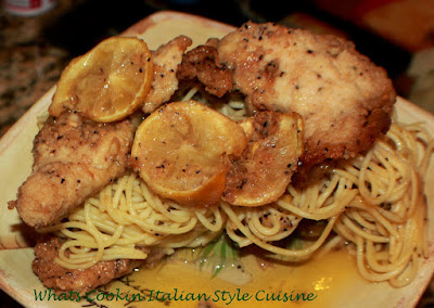 this is a lemon fried chicken with fresh lemons on a bed of linguine pasta. This is an easy quick meal that doesnt require much kitchen time or knowledge, This lemon chicken is a light summer meal and a classic Italian favorite chicken recipe