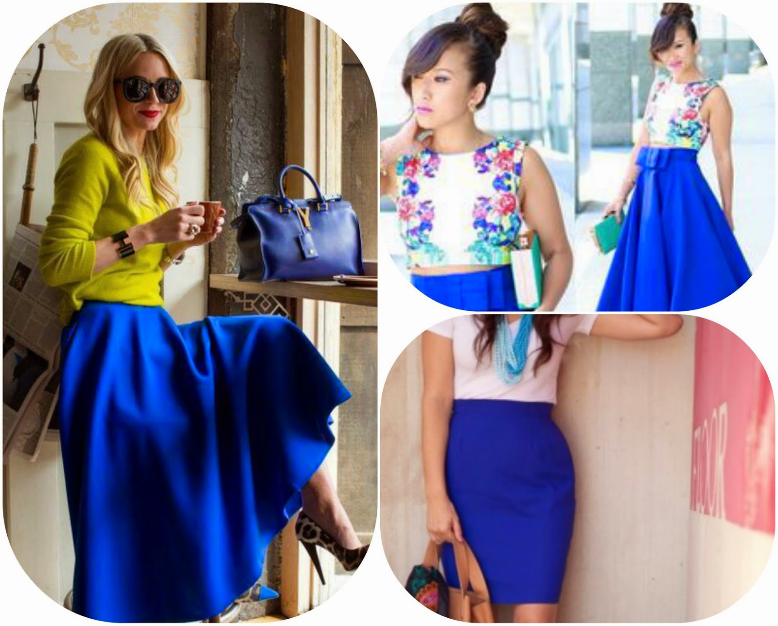 How to wear blue skirts, how to style blue skirts, blue fashion style
