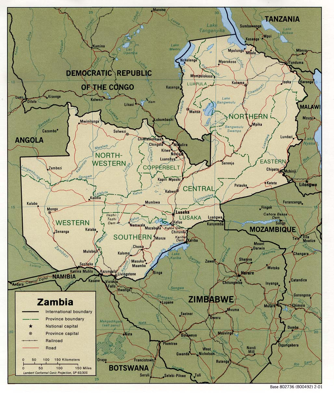 Zâmbia | Mapas Geográficos de Zâmbia