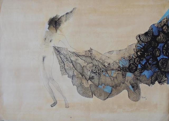 Glauco Capozzoli dibujo desnudo con sábana